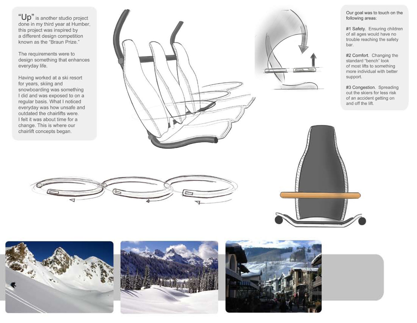Safe and effective chairlift design by Andrew Parsons at Coroflot.com