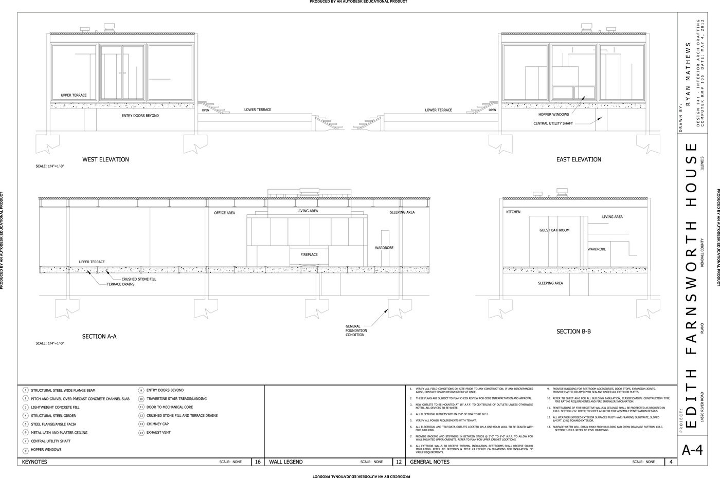 Farnsworth House: Floor Plan. Farnsworth House: Sections