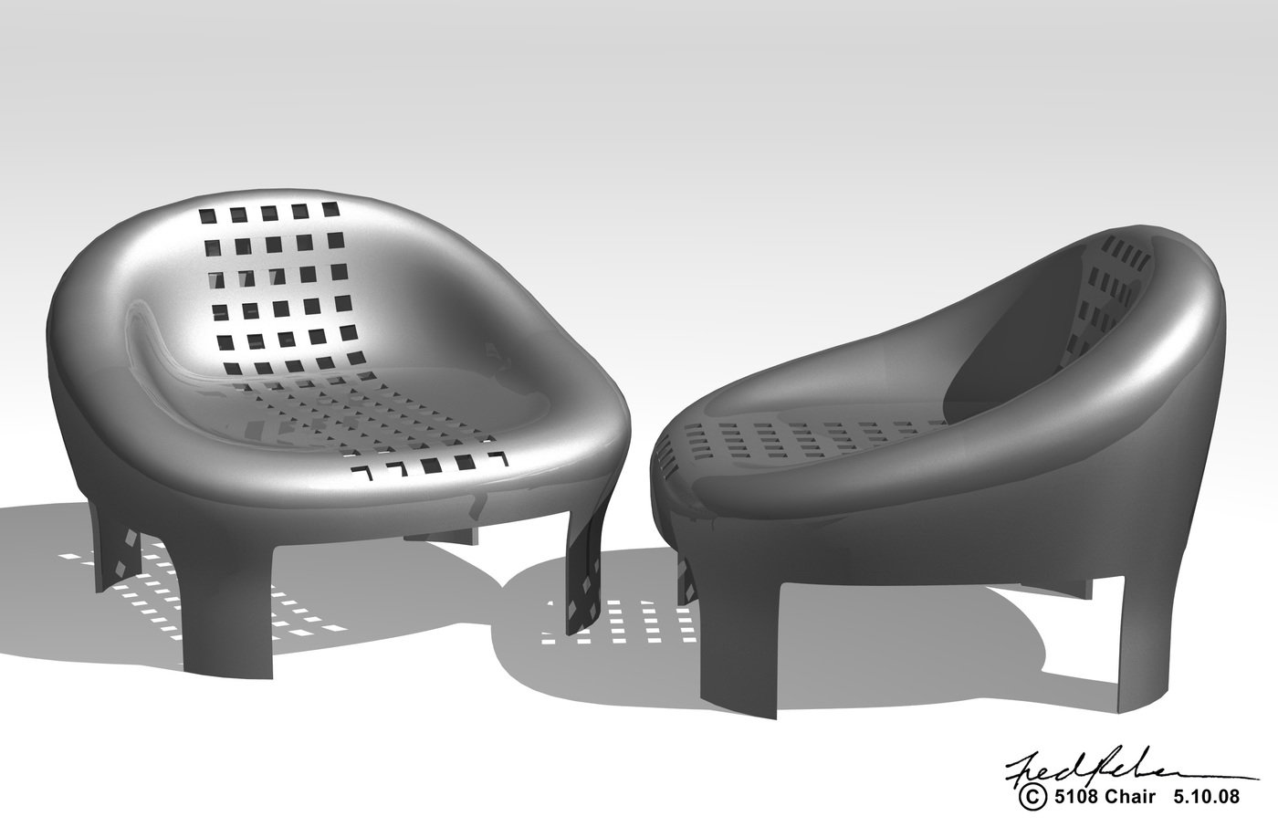chair steel chair formed and welded together in two sections punched pattern applied to top section