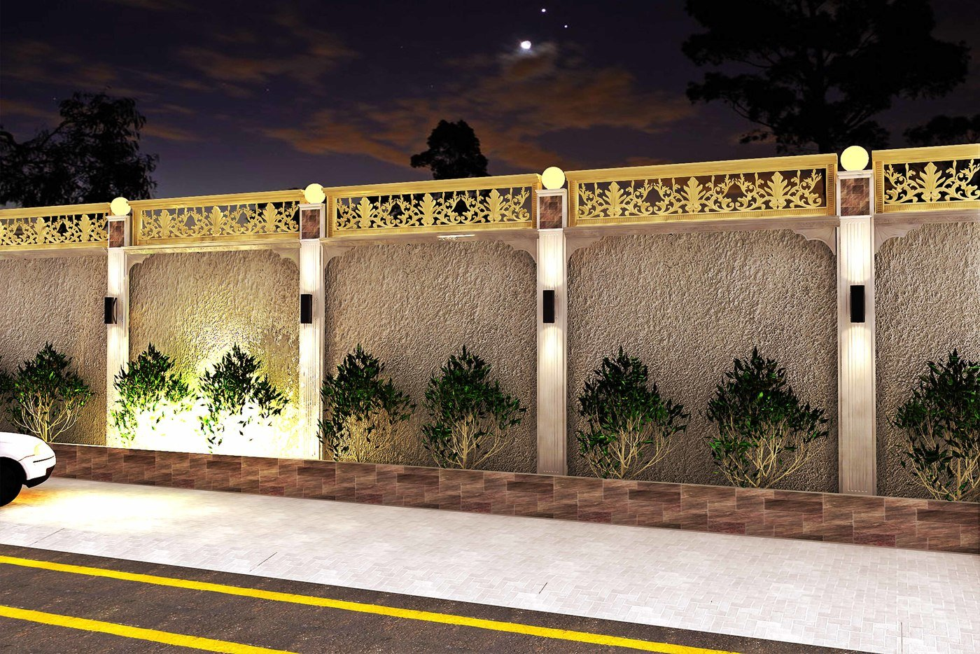Boundary wall design by israr ahmed at for Boundary wall