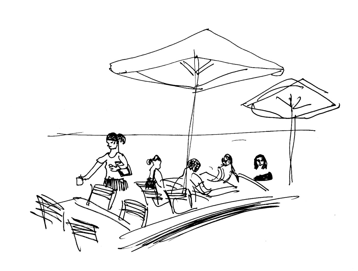 Drawings And Illustrations Created For The Manta Ray Restaurant Book Of Beach Waterfront Scenes Outside