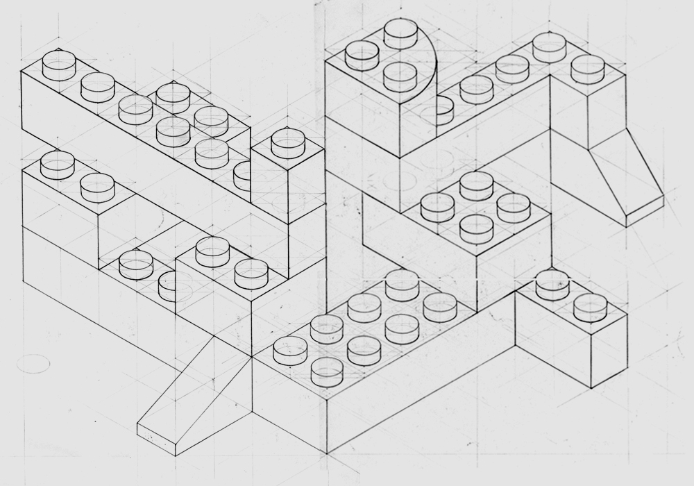 Isometric Drawing Legos Sketch Coloring Page