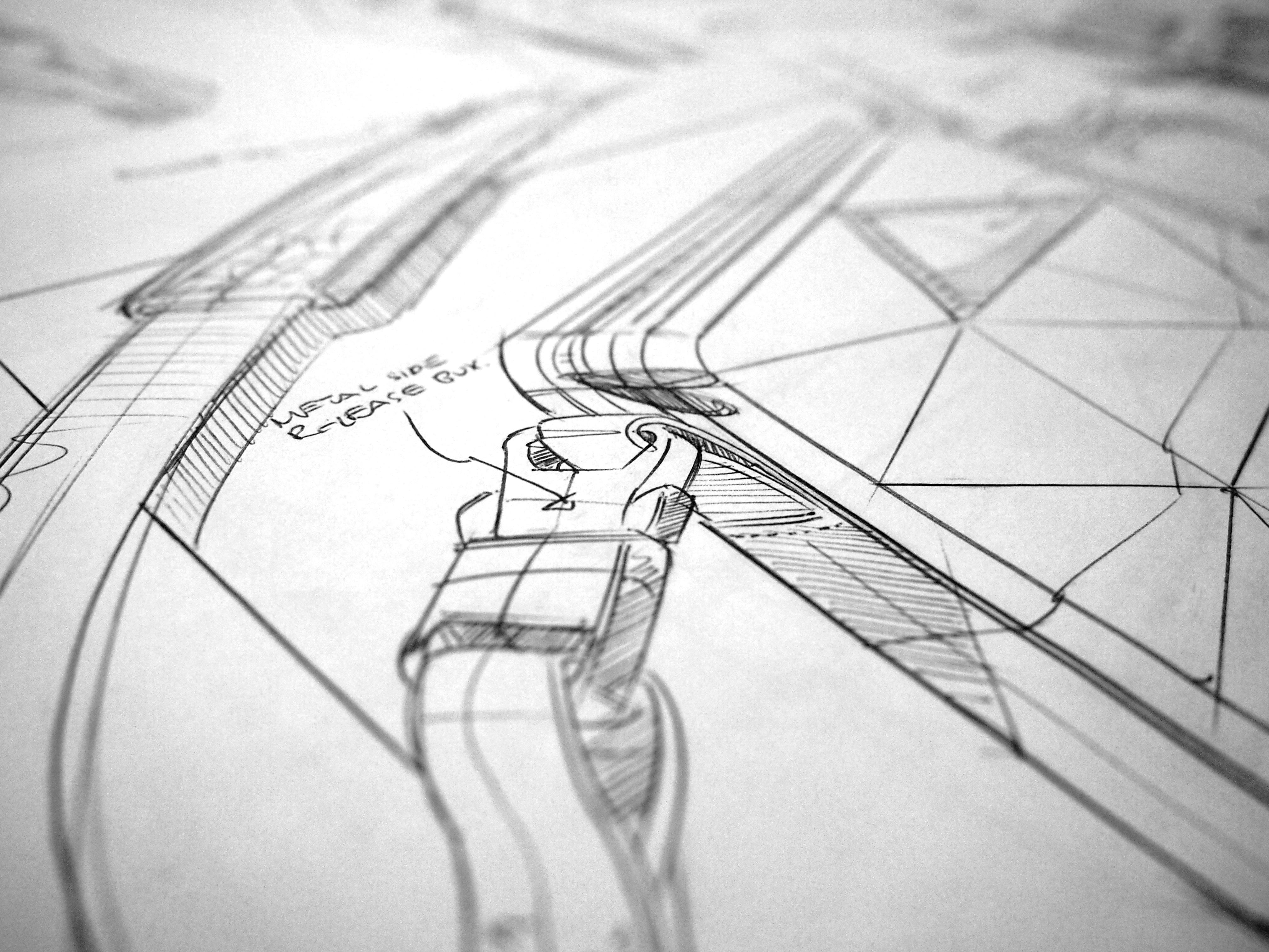 Paper bag sketch - Detail From Previous Bag Sketch Ballpoint Laser Printer Paper
