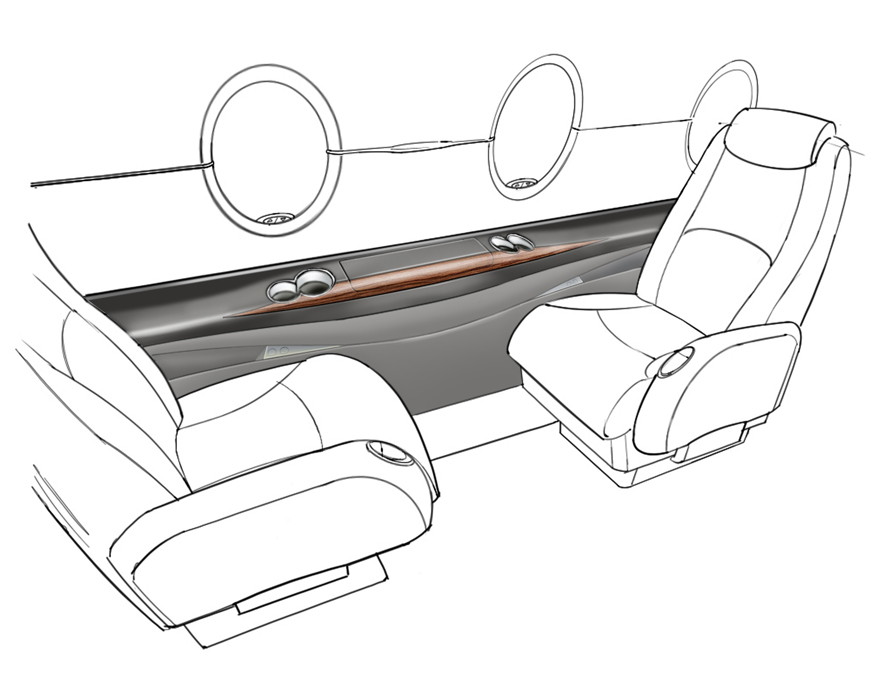 Interior Design And Development For Business Class Jets Including Learjet Hawker Spectrum Concept Sketching Rendering 3d Visualisation