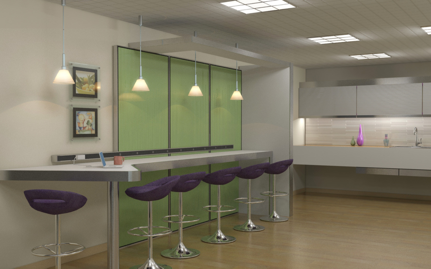 3d interiors by phillip wharton at for Office lunch room design ideas