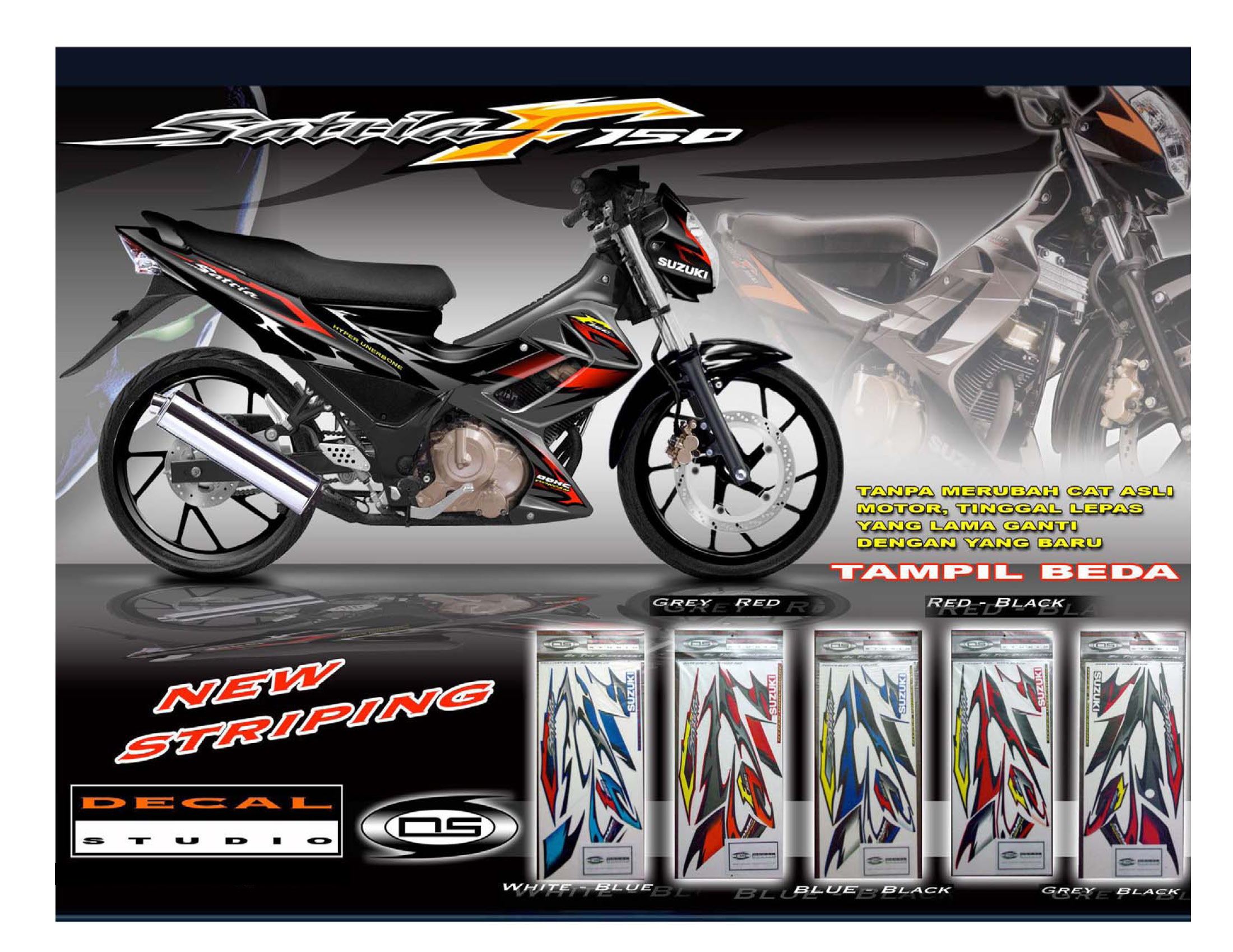 Custom Striping Decal Sticker Satria FU150 V1_White Blue only - others