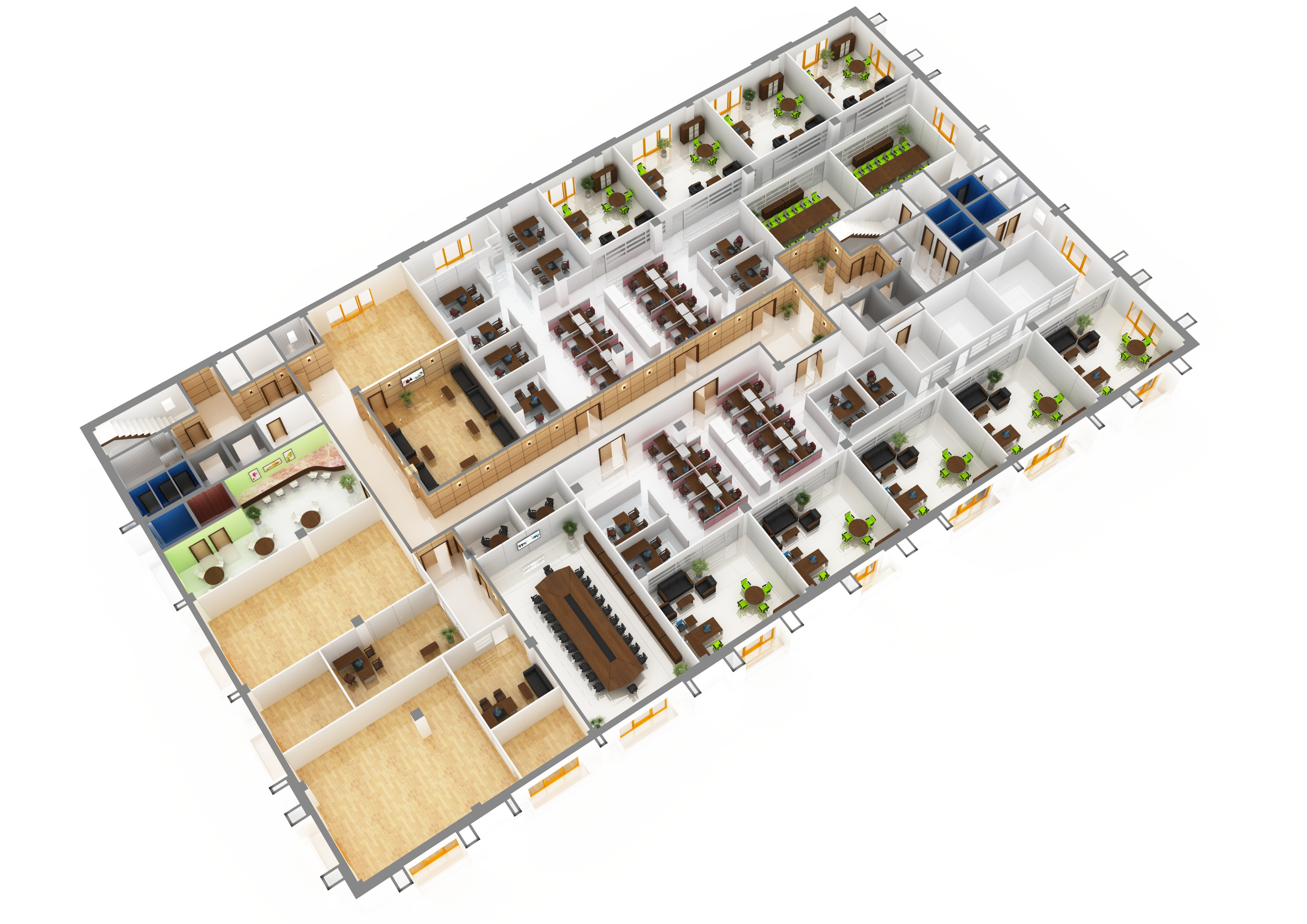 Office floor plan 3d the image kid has it for Office layout design 3d