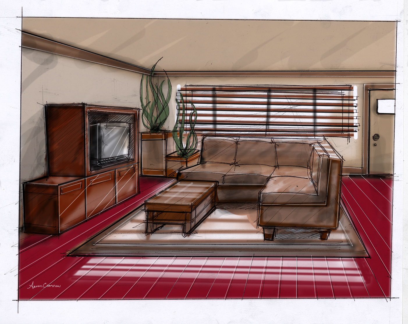 Interior Designs For Habitat Humanity Drawn Freehand Then Colored With A Wacom Tablet In Photoshop