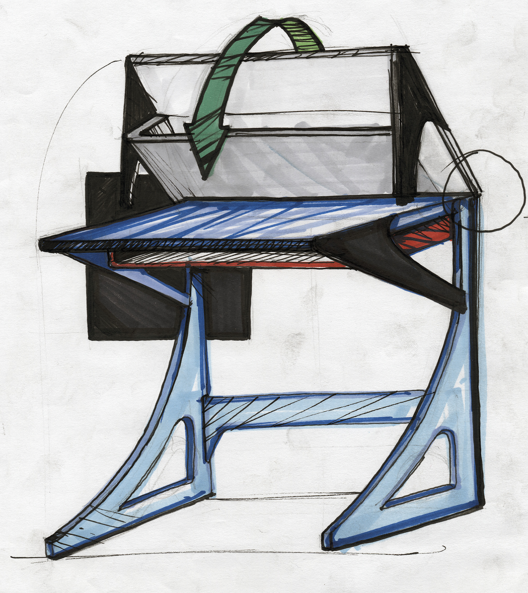 re designing the storage area under the typical school desk to optimize leg room - School Desk Design
