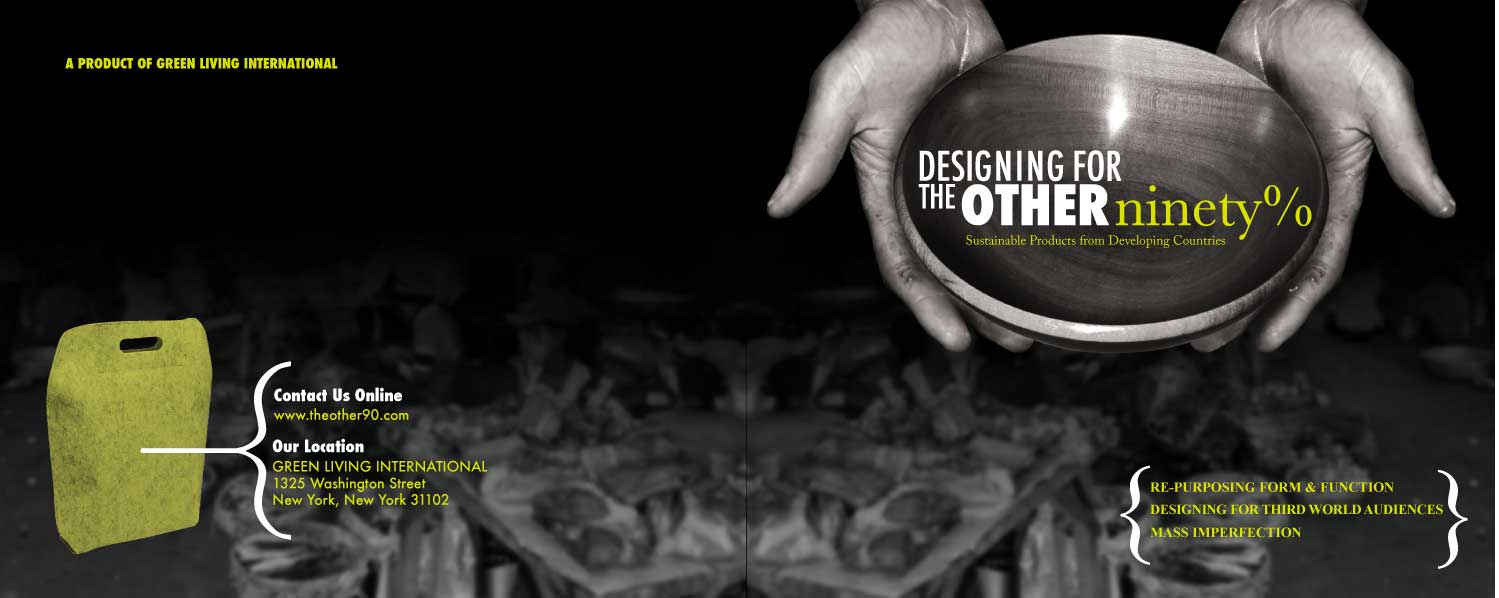 identity design by tamara anthony at com design for the other 90% cover page informational brochure on housewares from underdeveloped countries