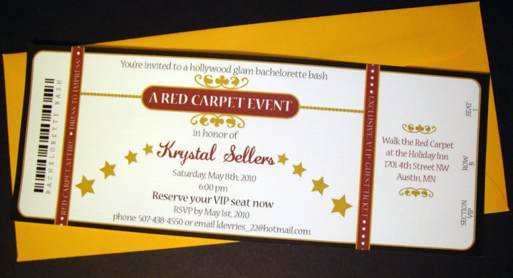 Wedding by Leah DeVries at Coroflot – Red Carpet Party Invitation