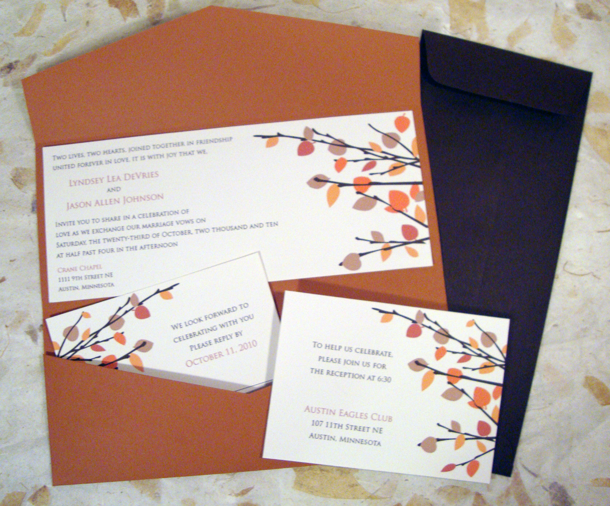 all in one fall wedding invitations fall wedding invitations Wedding By Leah Devries At Coroflot