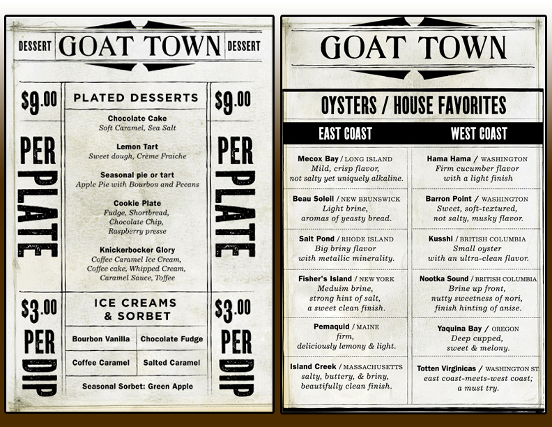 GOAT TOWN BRAND & MENU DESIGN by Garrett Kramer at Coroflot