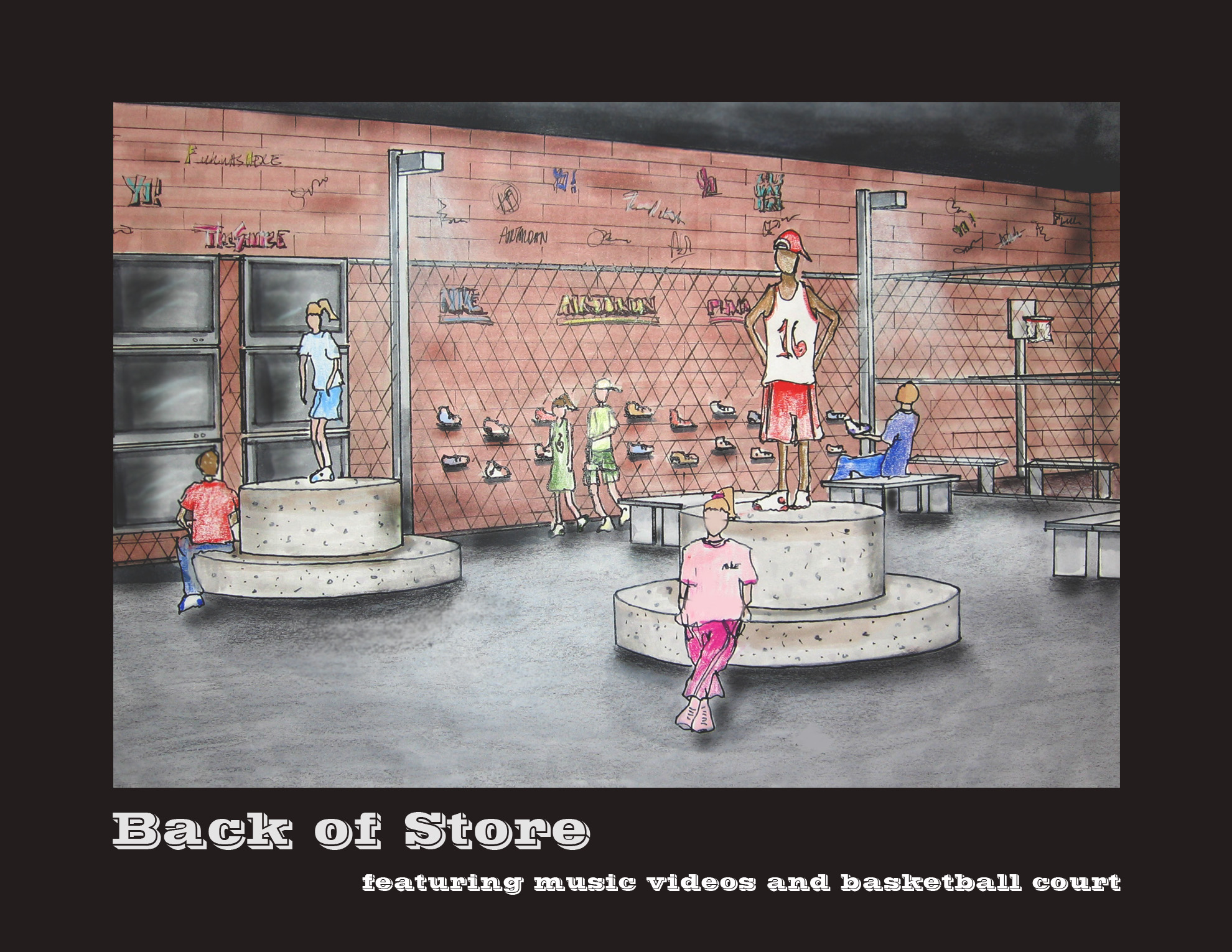 retail design urban clothing store for teens by heather flick at perspective shoe section basketball court an retail space targeting the young urban and hip hop community selling sportswear hats sneakers and
