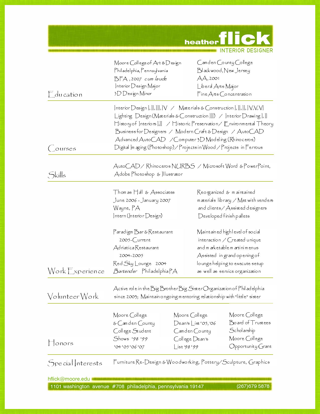 resume by heather flick at coroflot com share