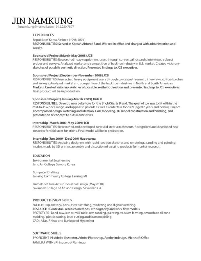 industrial design resume examples jin namkung resume by jin namkung at coroflot com - Industrial Designer Resume