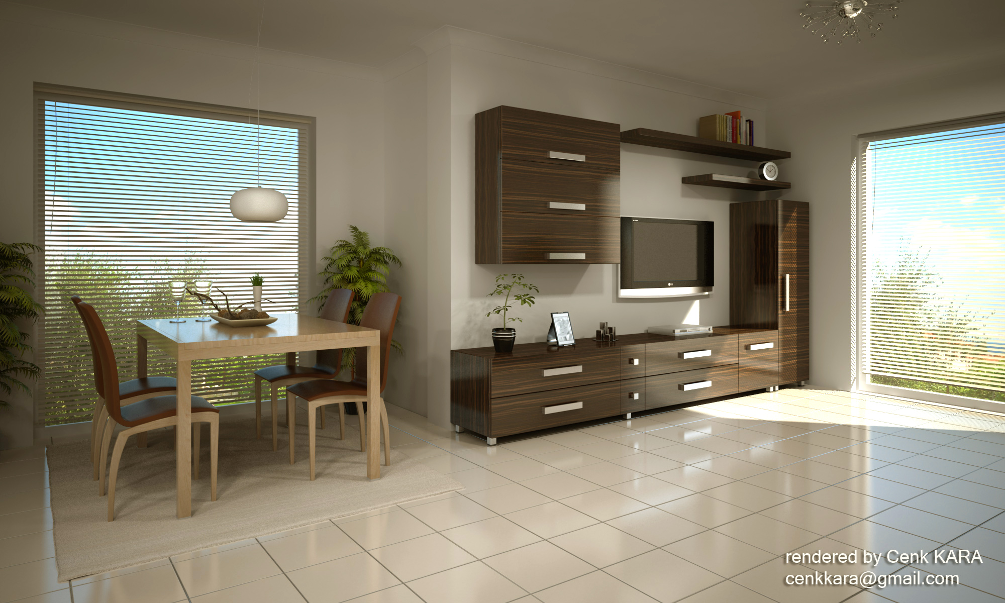 Kitchen & Living Room Rendering by Cenk Kara at Coroflot.com