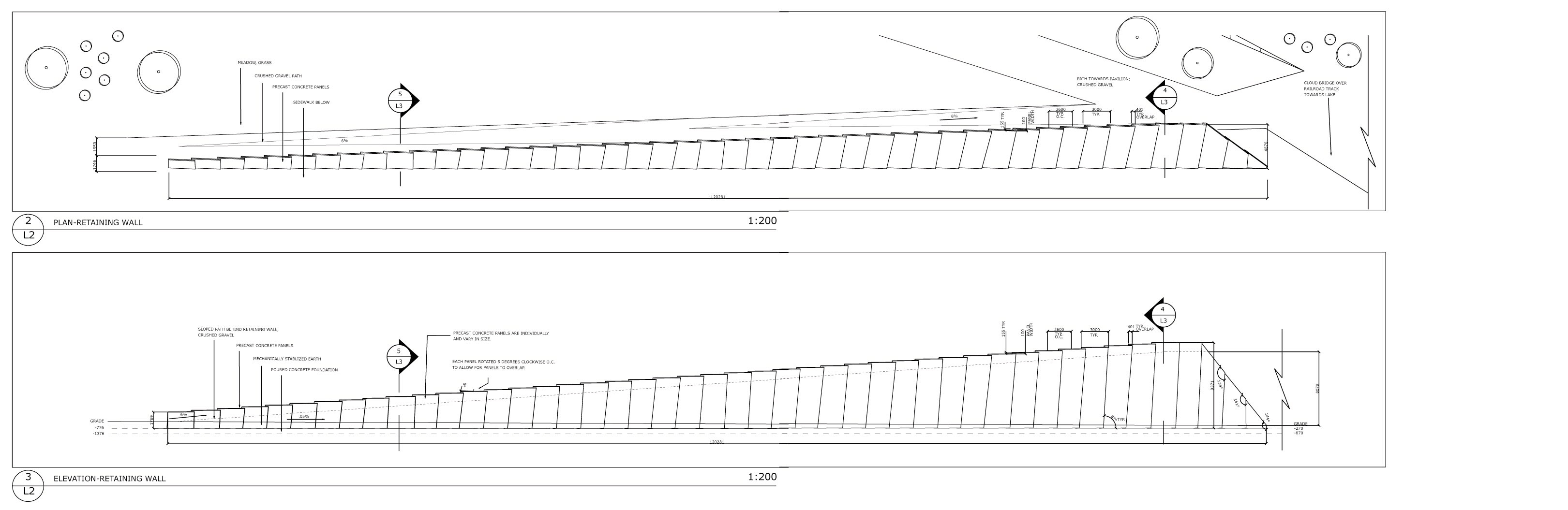 Stone Wall Elevation Drawing : Seattle olympic sculpture park detailed drawings by