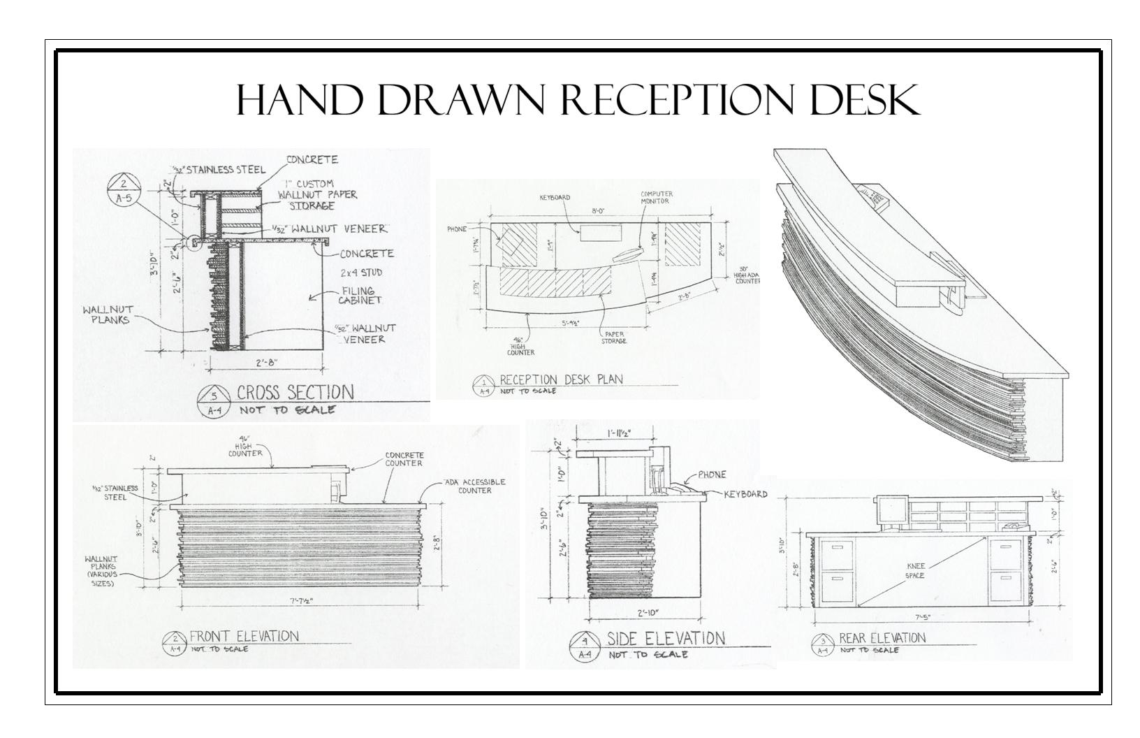 Reception Desk Designs Drawings Hand Draw Reception Desk