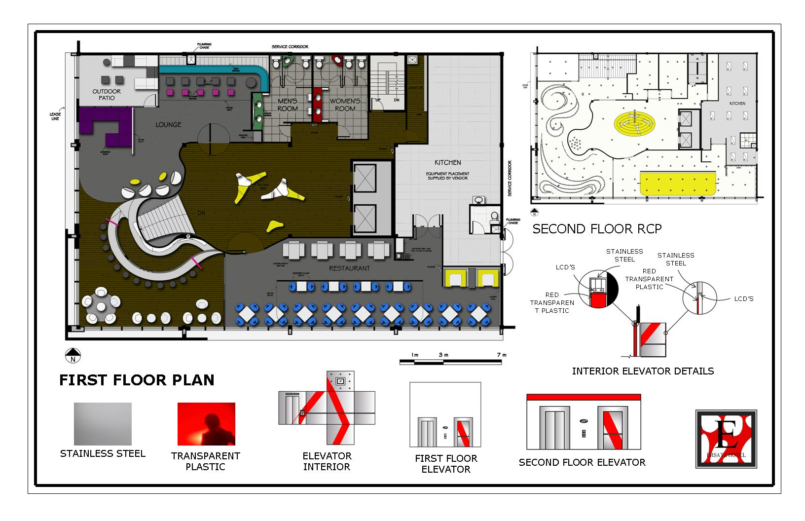 portfolio by carolann bond at coroflot com hotel second floor r c p and elevator second floor plan with a reflected ceiling plan the elevator for the hotel is also shown with an elevation of