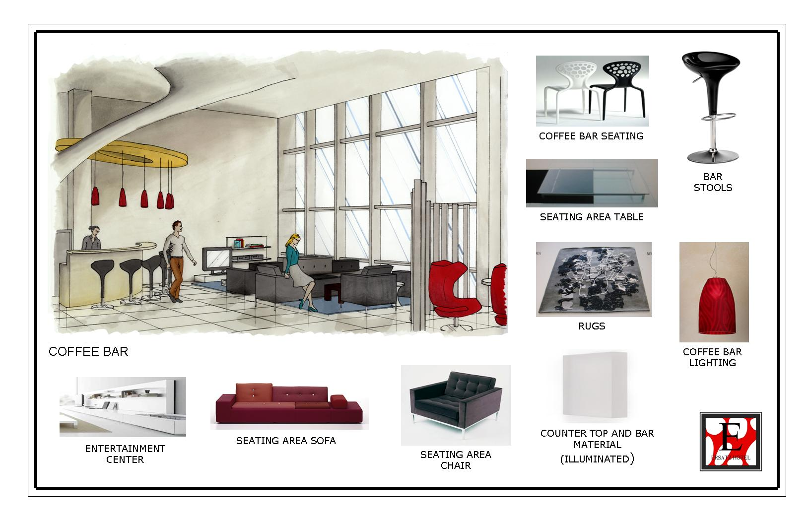 Hotel lobby furniture plan - Hotel Coffee Bar And Materials Perspective Of The Coffee Bar And Seating Area With A Glimpse Of The Concierge Desk On The Far Right Corner