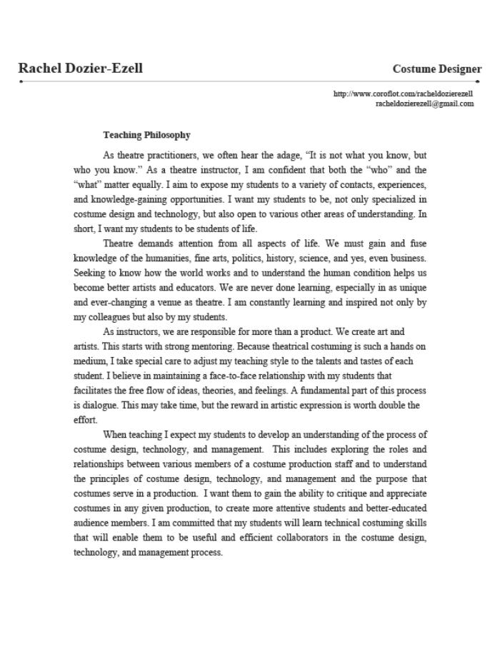 Personal curriculum/educational philosophy statement