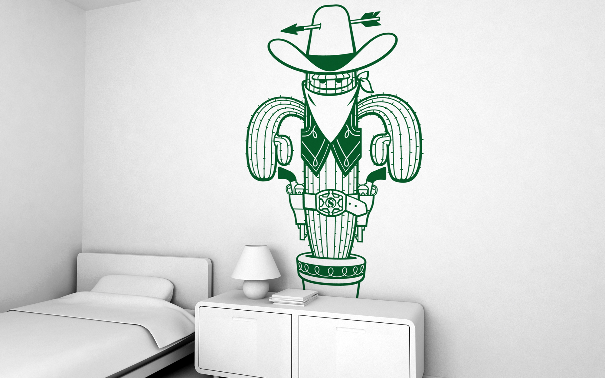 giant kids wall decals by e glue studio at coroflot com sheriff cactus giant wall sticker for baby nursery or kids room
