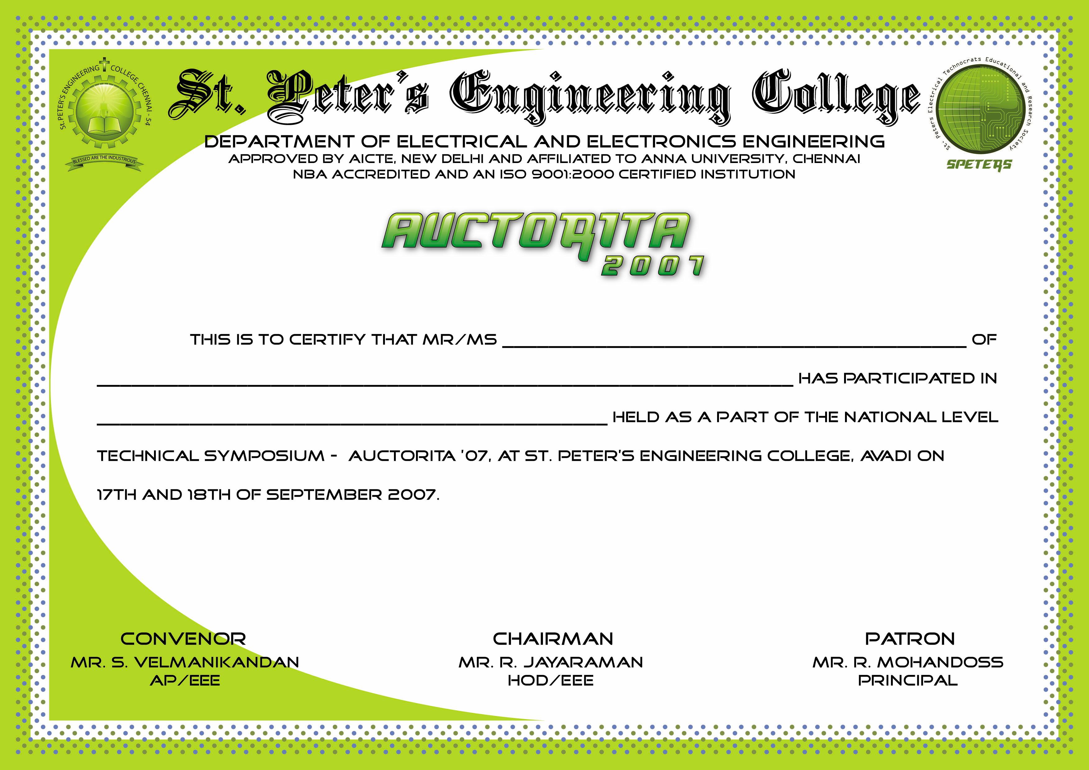 Symposium Certificate Templates