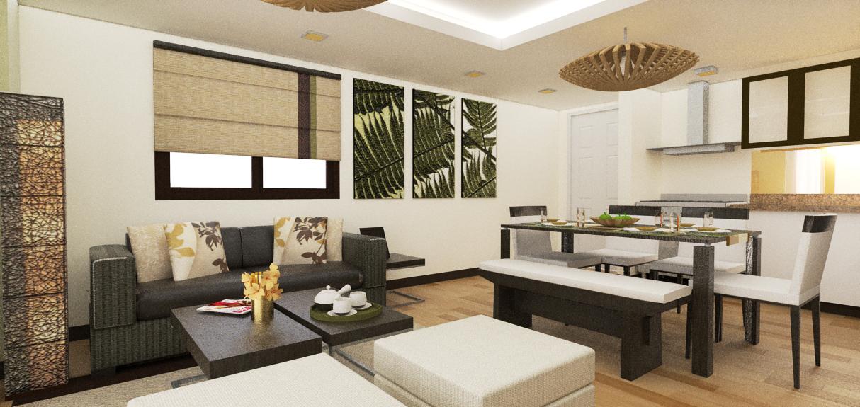 East raya condominium unit by anne margaret ayet san for Condo unit interior designs