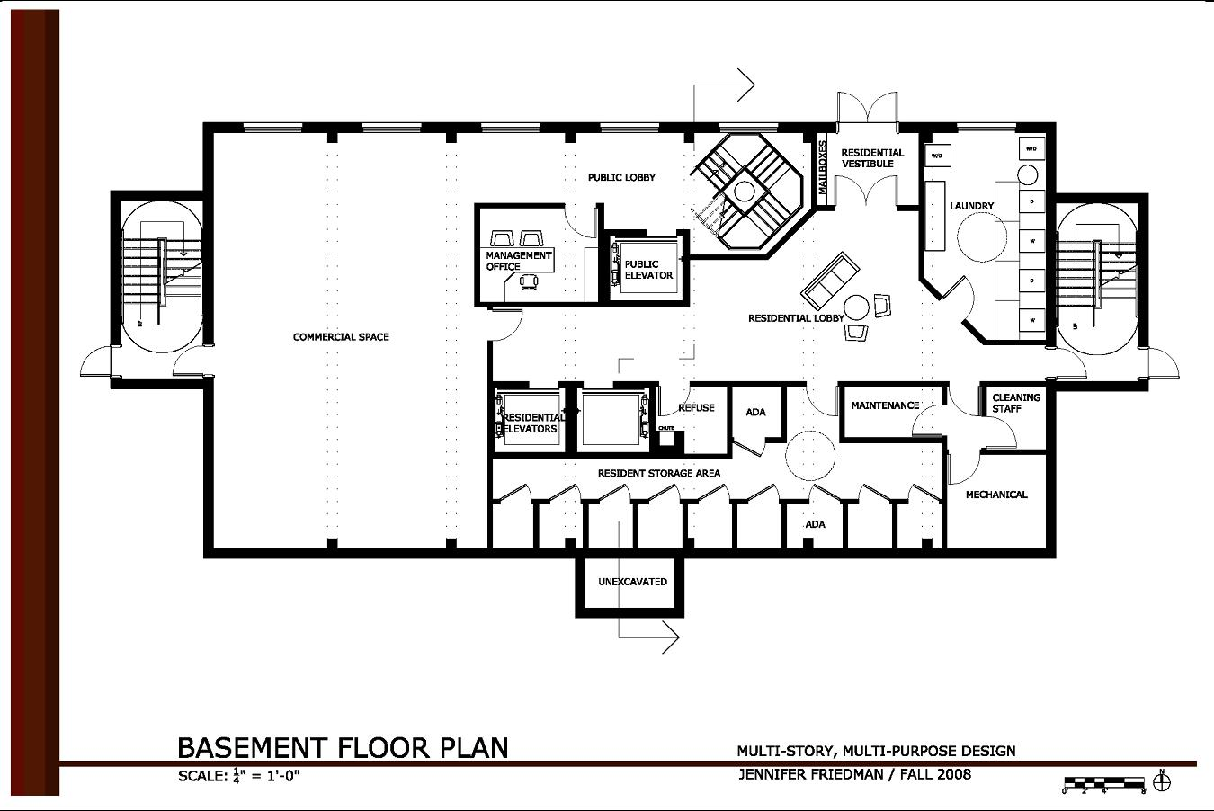 Multi story multi purpose design by jennifer friedman at for Commercial floor plan designer
