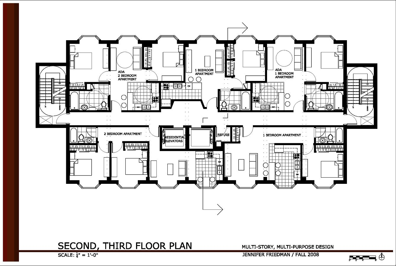 Multi story multi purpose design by jennifer friedman at for Small commercial building plans