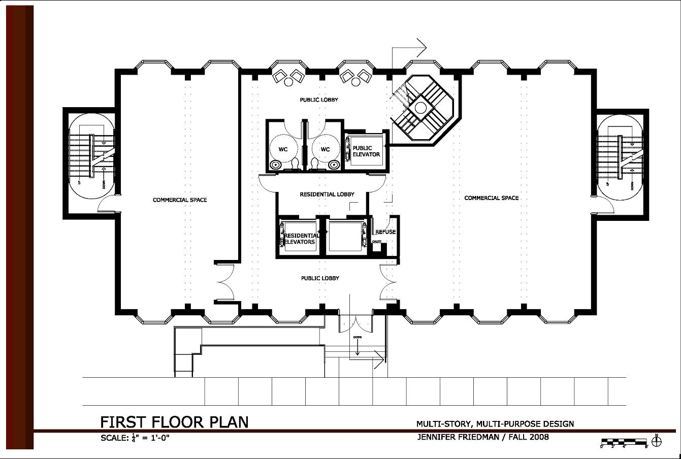 2 storey commercial building floor plan for Multiplex floor plans