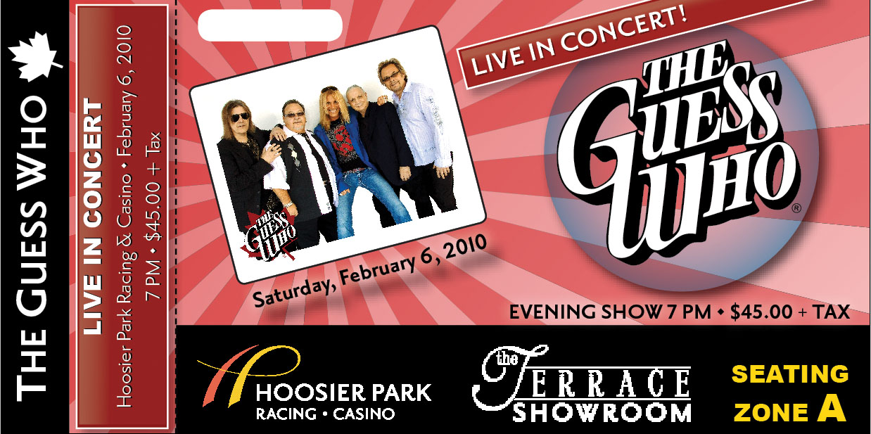THE GUESS WHO   Concer... ...  Concert Ticket Design