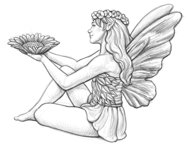 garden pixie coloring pages-#8