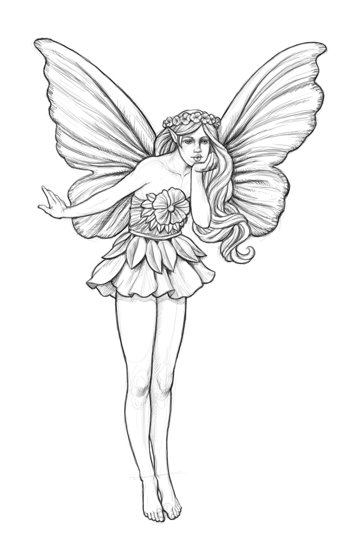 how to draw a fairy sketch