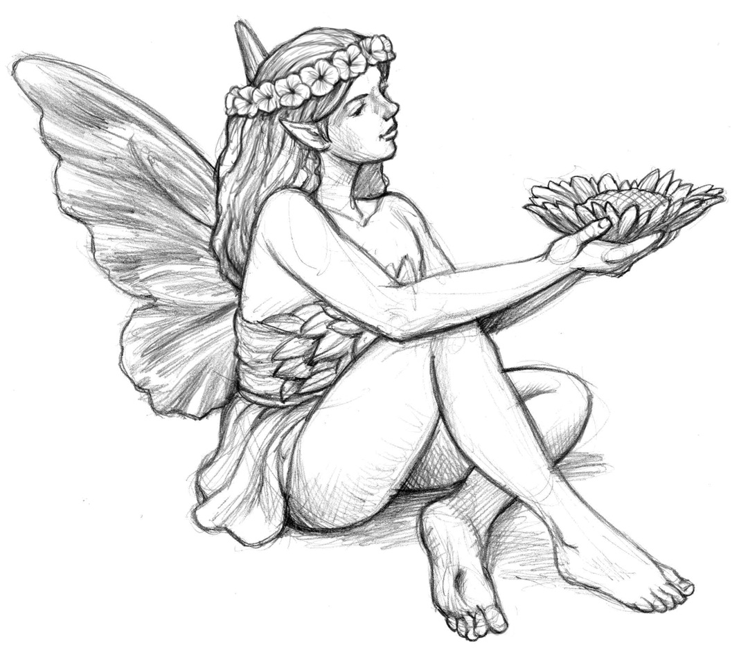 Free coloring pages of realistic fairies