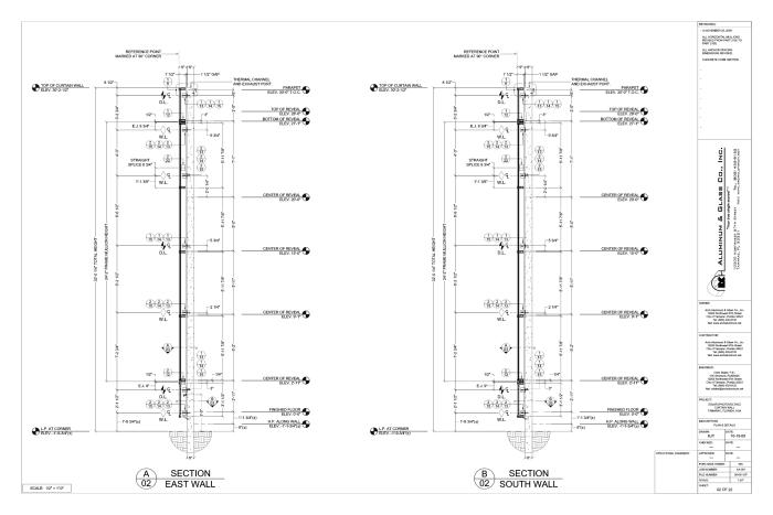 Curtain Wall Plans Page 02 Of 23 Structural Section Thru Of East And