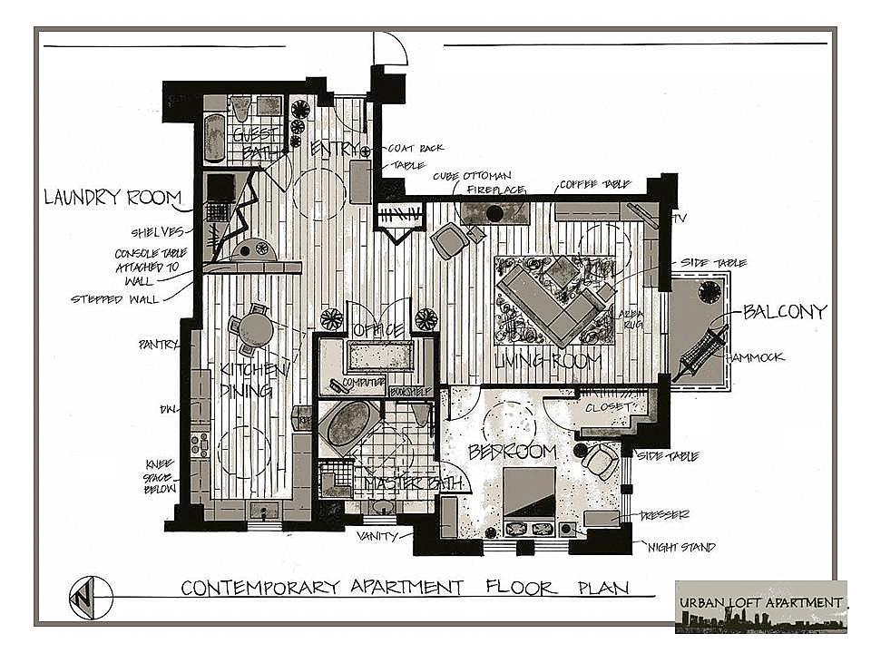 Portfolio by meredith urban van veen at coroflotcom for Urban loft floor plan