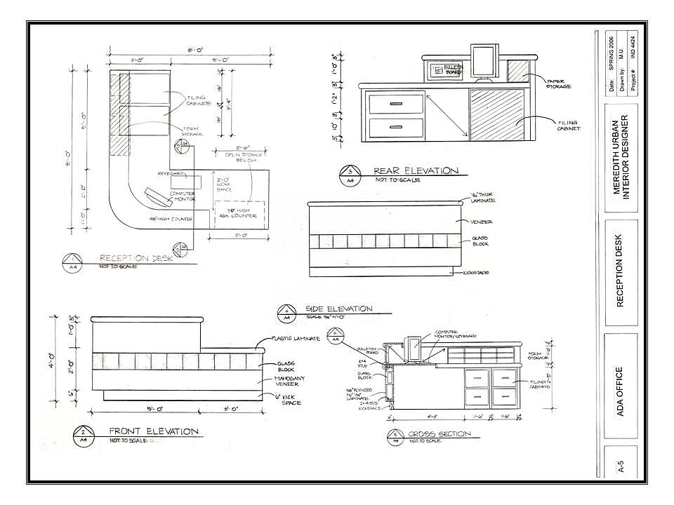 Reception Desk Section Detail Drawing Ada Business Office Reception