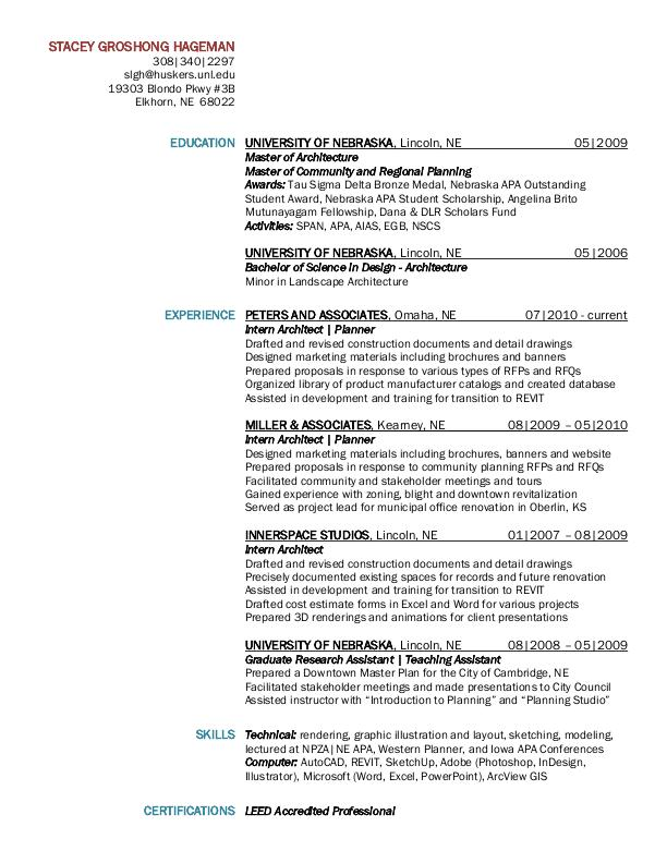 resume by stacey groshong hageman leed ap assoc aia at