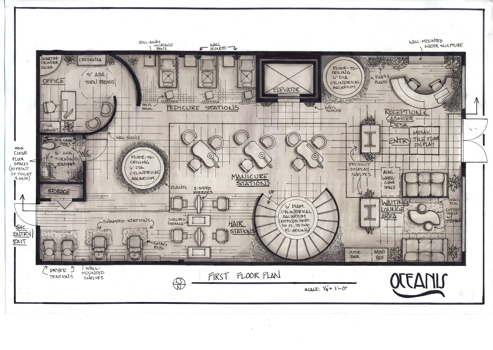 Oasis day spa project by christin menendez at for Spa floor plan design