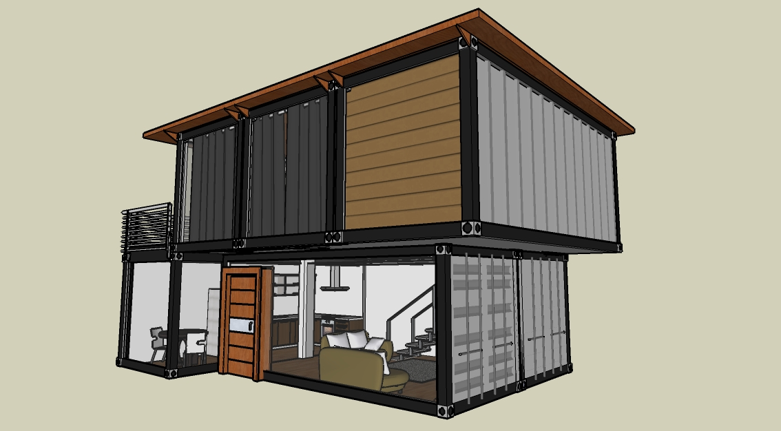 Low cost shipping container house by tuyen huynh at for Maison low cost container