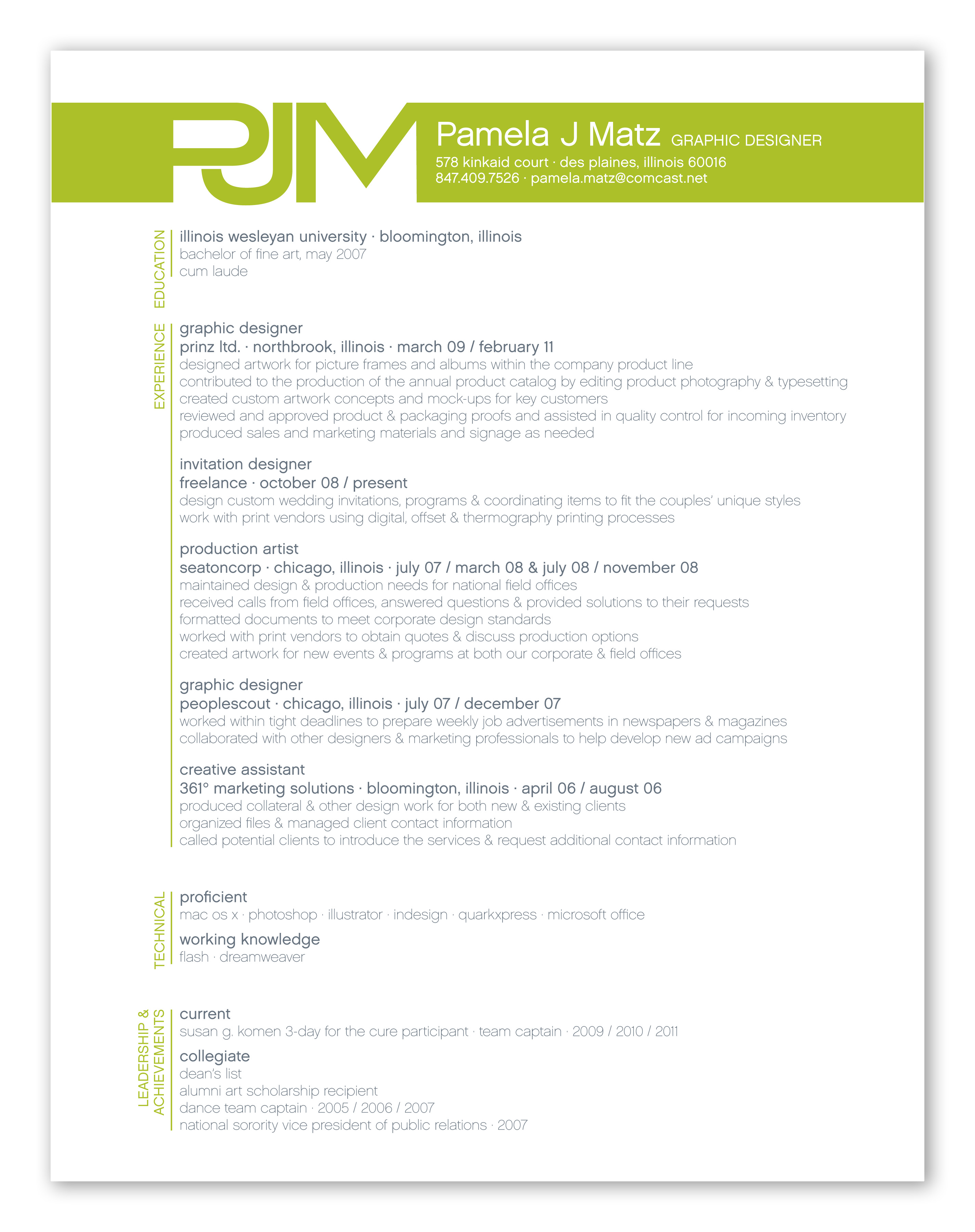 resume by pamela matz at coroflot com