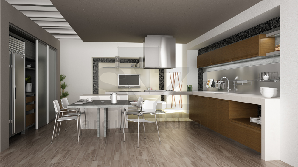Interior rendering by jorge s nchez at for Cocinas quetzal