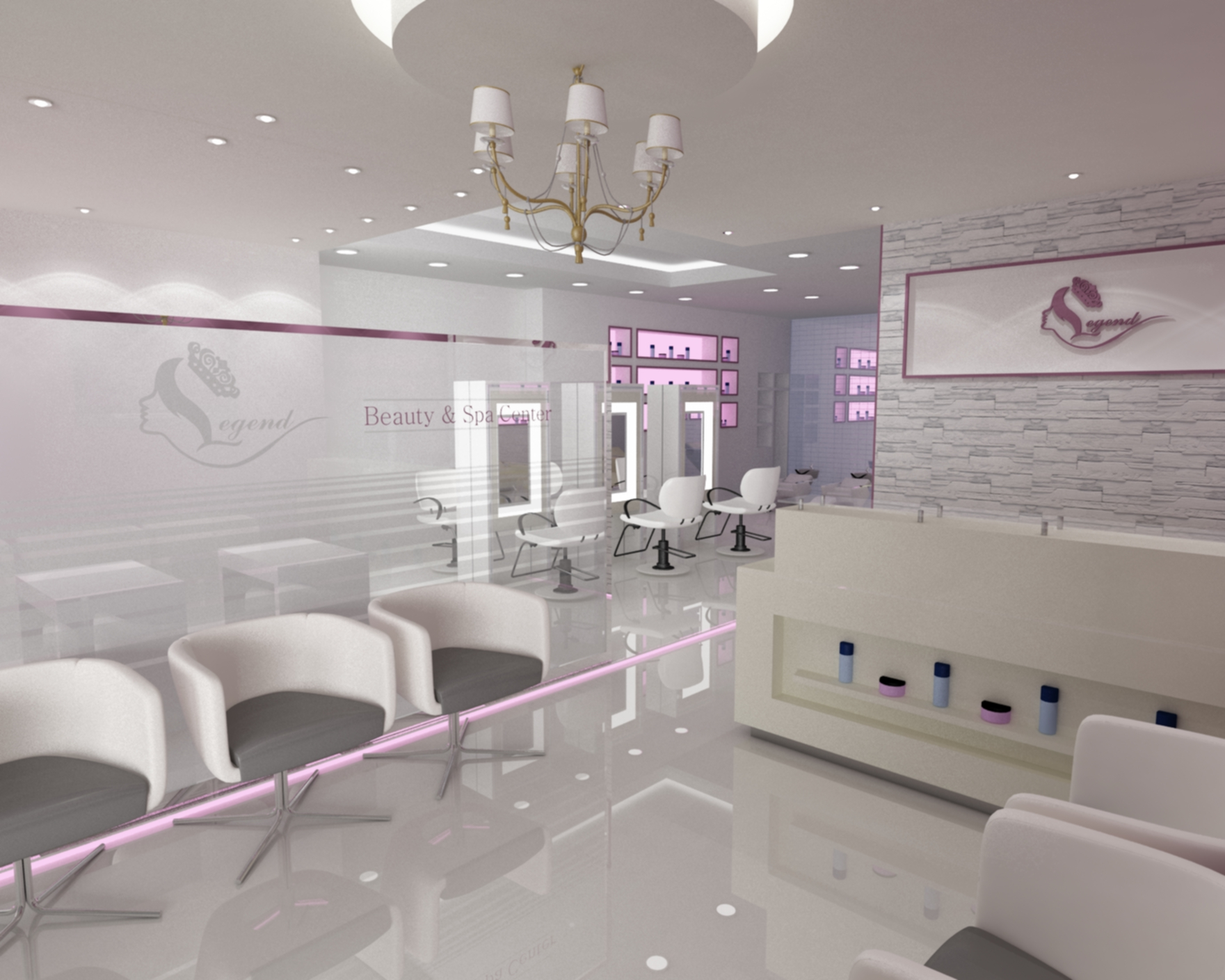 interior concept for beauty salon by yahkoob valappil at. Black Bedroom Furniture Sets. Home Design Ideas