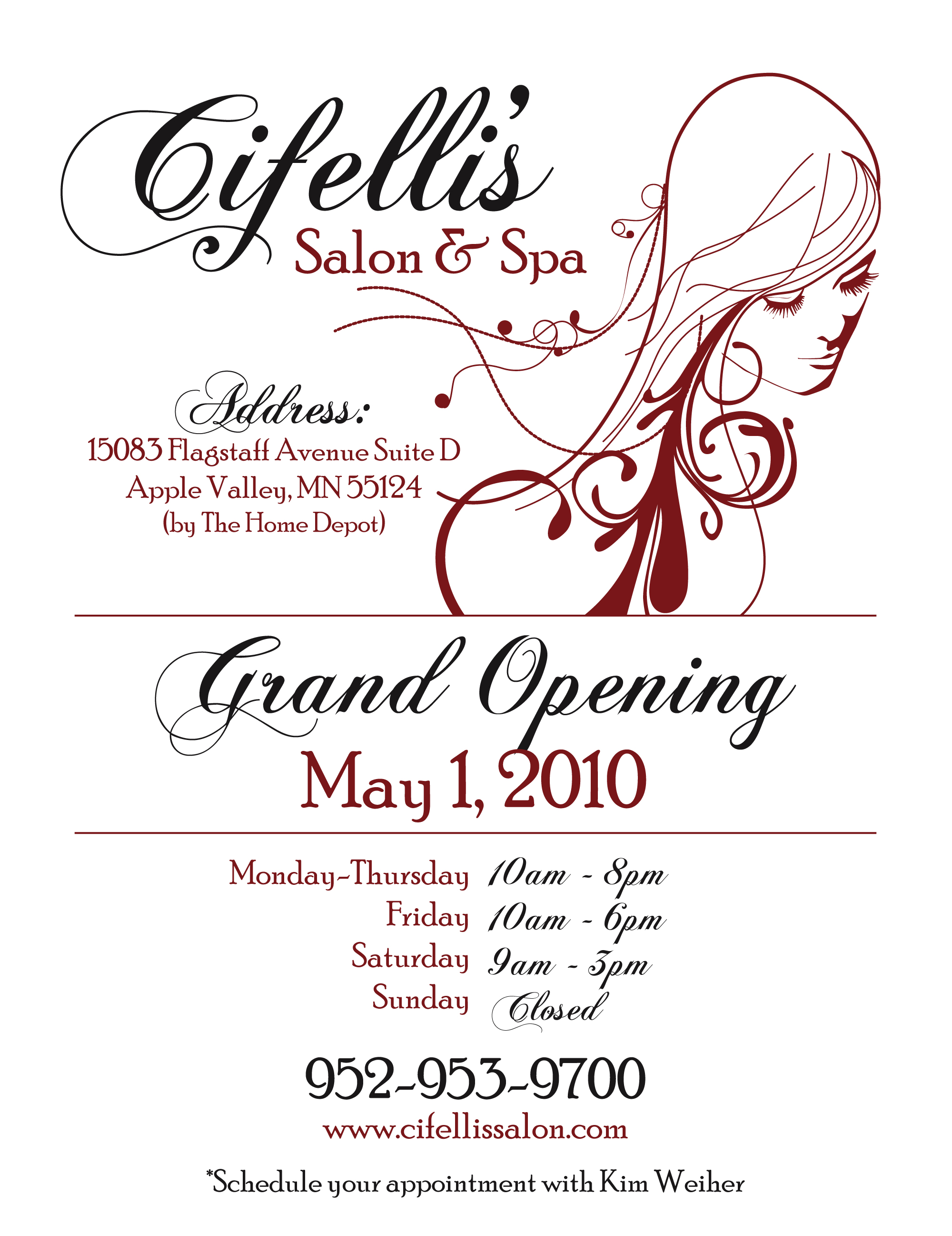 Hair Salon Grand Opening Flyer http://www.coroflot.com/jroygraphics/cifellis-salon-n-spa