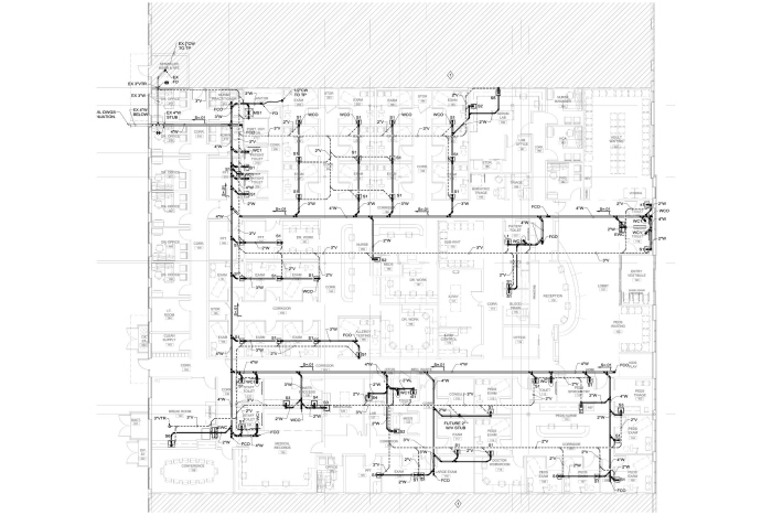 Plumbing med gas cad for clinic by daniel german at for Plumbing plans examples