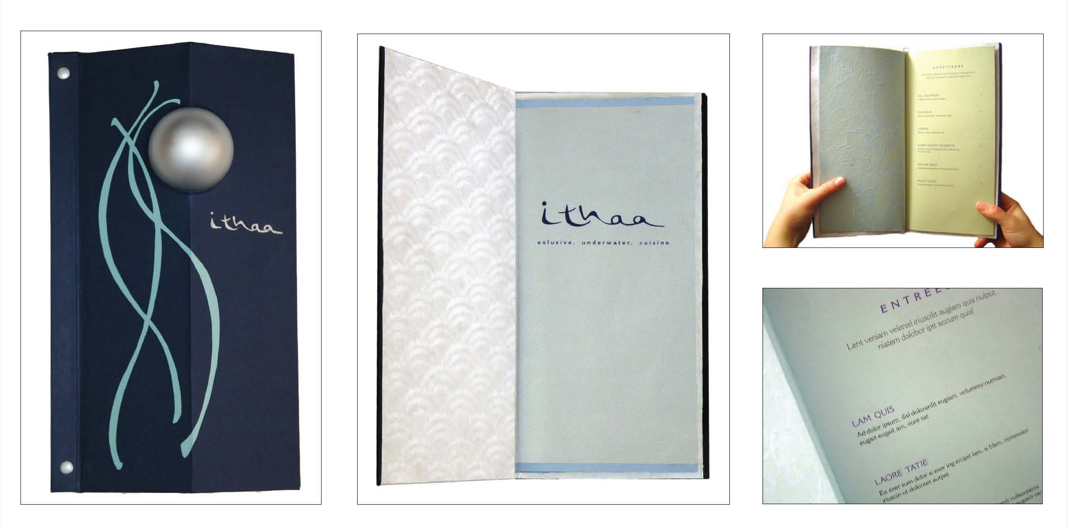 Menu design cover for Ithaa prices