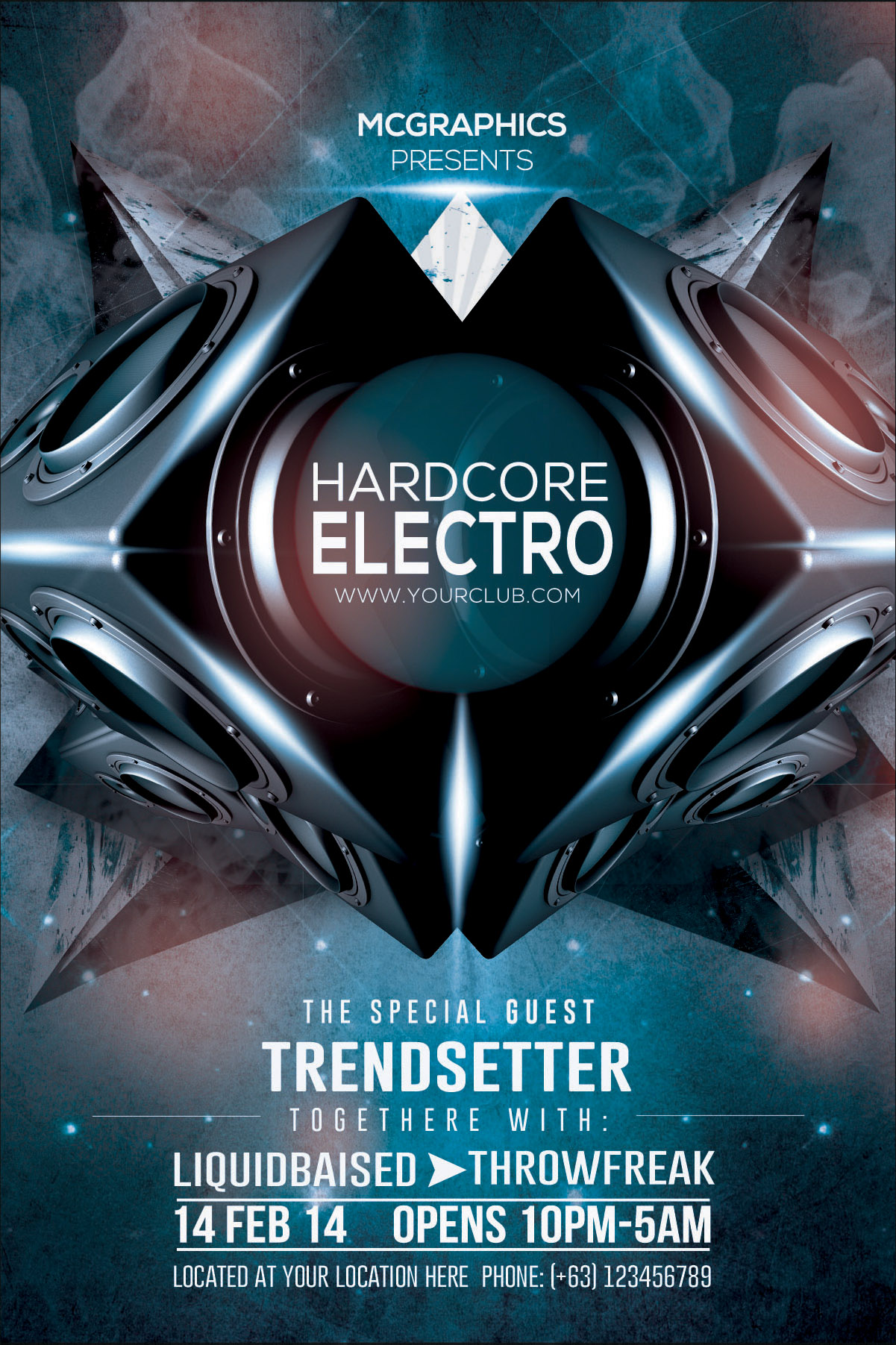 HARDCORE ELECTRO PSD FLYER TEMPLATE by MCGRAPHICS GFX at Coroflot – Electro Flyer