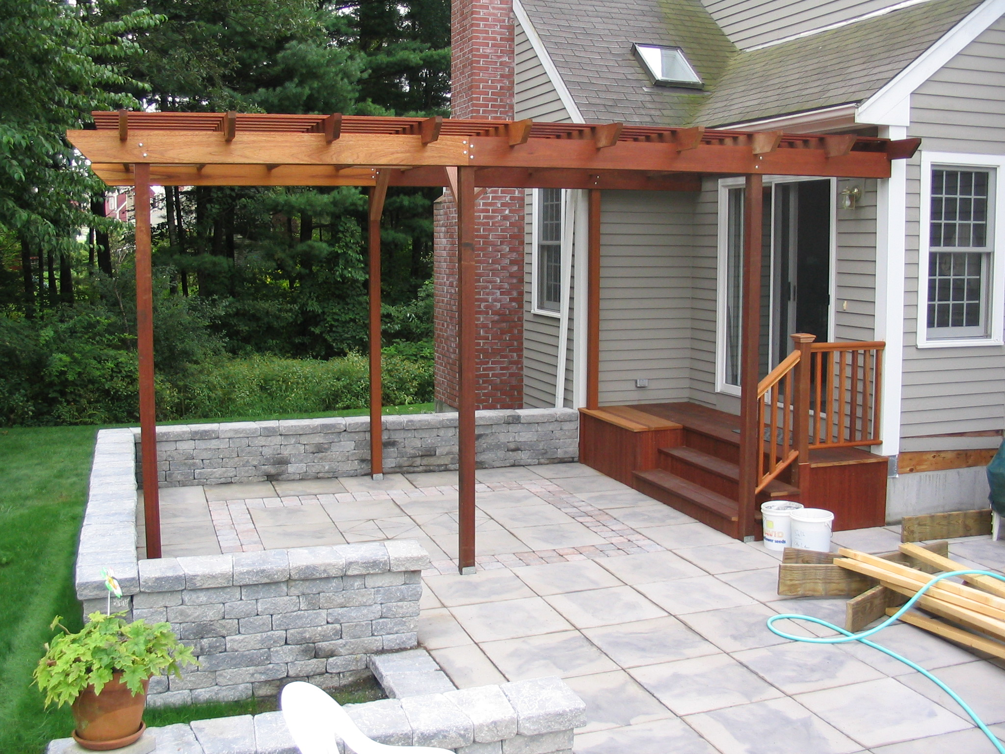 Charming Patio U0026 Pergola   I Designed The Pergola And Steps Leading To The Sliding  Doors. I Also Assisted In The Actual Building Process Of The Pergola.